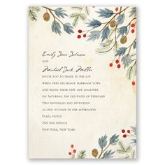 winter foliage wedding invitation | floral wedding invites at Invitations By Dawn