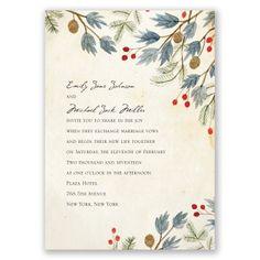 winter foliage wedding invitation | floral wedding invites at Invitations By Dawn