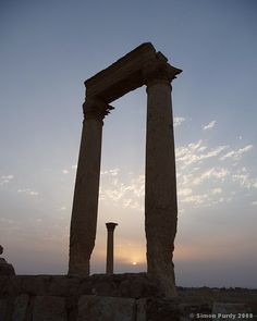 *SUNRISE OVER PALMYRA, SYRIA:   the sun rises over the Roman ruins at Palmrya, syria.