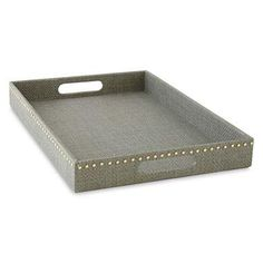Decor/Accessories - Happy Chic by Jonathan Adler Chloe Studded Tray - Large I jcpenney - gray tray, gray faux linen tray with nailhead trim, gray tray with nailhead trim,