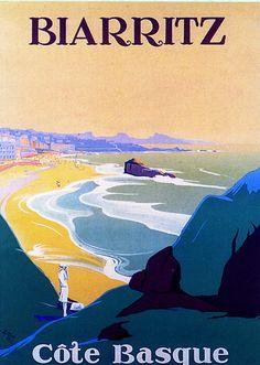 Vintage Travel Poster - Biarritz - Côte Basque - France.