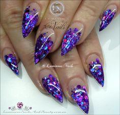 Stunning Glittery Indigo Acrylic Nails...