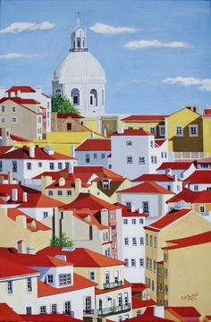 "Lisboa de Luz e Cor (Lisbon of Light and Color) 2015, Acrílico s/tela (Acrylic on canvas), 40x60 ------- Some information about this painting : This painting is part of one of the most beautiful neighborhoods of Lisbon: the St. Vincent neighborhood, right next to the famous Alfama's neighbourhood (see, for example, my painting ""Beco das Cruzes"", in the Alfama neighborhood in Lisbon, and read the text attached). The dome seen in the representation is of the Nat"