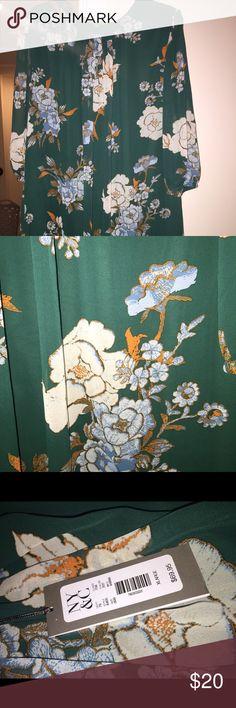 Green Eva Mendez knee length shift dress Sheer Green 3/4 sleeve knee length shift dress- with blue and white flowers- Eva Mendez for NY& Co. never worn- new with tags New York & Company Dresses Long Sleeve