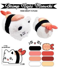 Tasty Peach Studios is raising funds for Sushi Meowchi Plush on Kickstarter! Adorable, fluffy, Meowchi plush that look like tiny sushi! Plushie Patterns, Animal Sewing Patterns, Sewing Stuffed Animals, Cute Stuffed Animals, Kawaii Plush, Cute Plush, Sushi Plush, Tasty Peach Studios, Sewing Crafts
