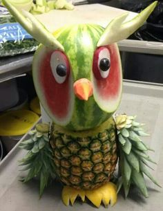 Fruit owl with grape eyes.