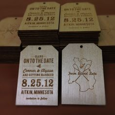 Wooden Save the Date Wedding Announcement Tags - Custom Laser Engraved. $3.50, via Etsy.