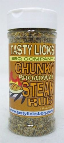 "TASTY LICKS "" CHUNKY BROADWAY "" CHUNKY RUB FOR STEAKS , CHOPS ETC."