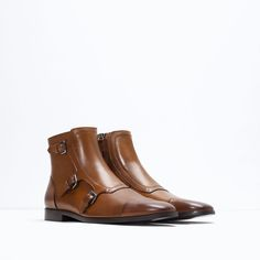 Image 2 of LEATHER ANKLE BOOT WITH BUCKLES from Zara