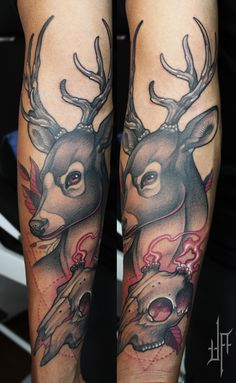 neotraditional deer + skull by javierfranco