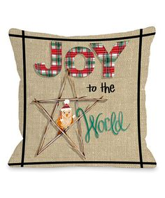 Love this Primitive 'Joy to the World' Throw Pillow on #zulily! #zulilyfinds
