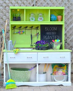 Turn a thrift store dresser into a potting bench. Love this idea! @A T The Picket Fence