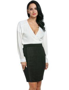 Women's Chiffon Deep V-Neck Long Sleeve Tops Two Piece Set Bodycon Dress