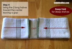 How to fold towels deep step 4 Hang Towels In Bathroom, Bathroom Red, Bathrooms, Bathroom Closet, Kitchen Towels, Modern Bathroom, Bathroom Ideas, Organizar Closets, Towel Display