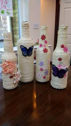 Diy Crafts Love Wine Bottles New Ideas Twine Wine Bottles, Wrapped Wine Bottles, Recycled Glass Bottles, Glass Bottle Crafts, Wine Bottle Art, Diy Bottle, Bottle Vase, Diy Crafts Love, Jar Crafts