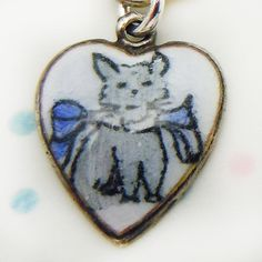 Vintage enamel kitty heart  ~ A Genuine Find