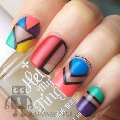 One of the best ways to go would be to paint abstract nail art designs. This is because you're not restricted on what design to make. Funky Nail Art, Funky Nails, Easy Nail Art, Nail Art Designs 2016, Simple Nail Art Designs, Abstract Nail Art, Geometric Nail Art, Nail Polish Trends, Nail Trends