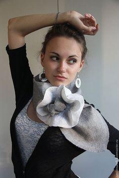 Шарфы и шарфики ручной работы. Ярмарка Мастеров - ручная работа. Купить Макошарф белый. Handmade. Валяный шарф, подарок подруге