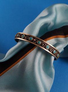 Old Indian Handmade Multi-Stone Turquoise Cuff, Bangle, Bracelet, Signed B by shopnestandcompany on Etsy