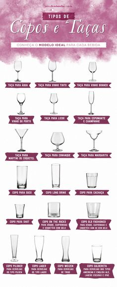 Tipos de copos e taças: conheça o modelo ideal para cada bebida Dining Etiquette, Etiquette And Manners, Table Manners, In Vino Veritas, Deco Table, Decoration Table, Home Hacks, Bartender, Home Organization