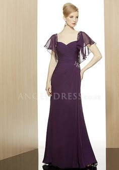 Spectacular Chiffon Floor Length Queen Anne Wedding Guest Dresses With  Beading Bride Groom Dress bf21a40d92e7