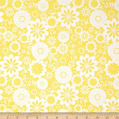 Riley Blake Evening Blooms Floral Yellow from @fabricdotcom  Designed by Carina Gardner for Riley Blake Designs, this cotton print is perfect for quilting, apparel, crafts, and home décor projects.