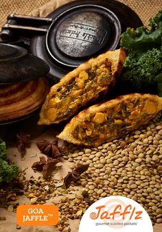 Goa Jaffle is a Indian Vegan Curry in a Toasted Pocket. Made with All Natural Ingredients, Healthy and No Junk! Veg Curry, Curry Spices, Toast Sandwich, Hot Dog Buns, Hot Dogs, Collard Greens, Spice Blends, Real Food Recipes, Sandwiches