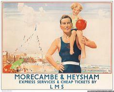 Vintage Railway Advertising Rail Travel Poster Re Print Morecambe & Heysham Posters Uk, Railway Posters, Train Posters, Retro Posters, Movie Posters, British Travel, British Seaside, British Isles, Online Travel Agent