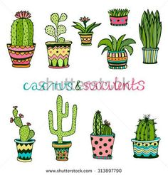 Cactus and succulent hand drawn set Doodle flowers in pots Vector colorful cute house interior plants