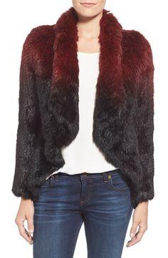 Love Token Drape Front Genuine Rabbit Fur Jacket available at #Nordstrom