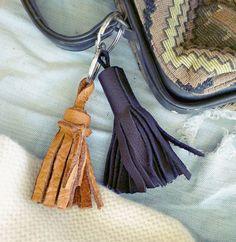 diy rustic leather tassel key chain tutorial