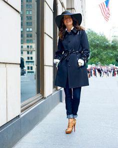 Skinny Jeans, Heels, Trench Coat, Floppy hat