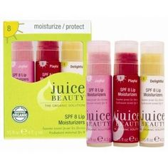 Juice Beauty Juice Beauty Lip Trio: SPF15 Tinted Lip Moisturizers 4.5 g - 4.5 g by Juice Beauty. $15.00. Gain natural, soft, kissable lips without stickiness with Juice Beauty Lip Trio: SPF 15 Tinted Lip Moisturizers. You won't want be anywhere without them. They bring supple hydration to your lips as they leave a natural-looking tint. Gain natural, soft, kissable lips without stickiness with Juice Beauty Lip Trio: SPF 15 Tinted Lip Moisturizers. They bring suppl...