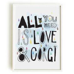 CORGI quote art print - cardigan welsh corgi illustration -art print by nicemiceforyou