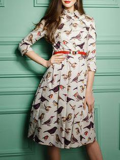 Multicolor Shirt Collar A-line 3/4 Sleeve Midi Dress with Belt
