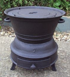 French Vintage Cast Iron Chestnut Roaster Barbecue Outdoor Camping Stove