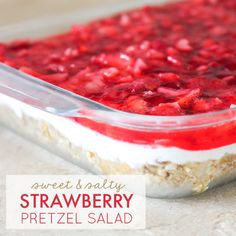 This Strawberry Pretzel Jello Salad is an irresistible mix of sweet and salty with just enough creaminess in the middle to balance both!