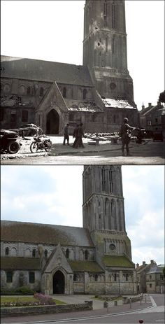 Bernieres-sur-Mer church shortly after D-Day and present days