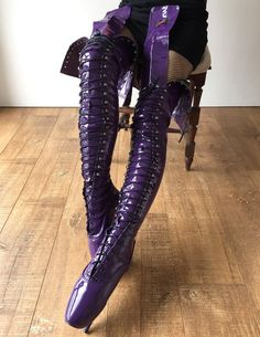 color: as shown or custom colormaterial: synthetic material MADE TO ORDER (NOT IN STOCK)- natural leather finishing fetish ballet pointe boots - heel is inches tall- speed lace - zipper for easy on/off Ballet Boots, Ballet Heels, Pumps Heels, Stiletto Heels, Shoe Boots, Thigh High Boots Heels, Hot High Heels, Heeled Boots, Crotch Boots