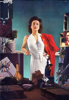 JOAN CRAWFORD CHRISTMAS 1940'S real colour photo, white pleated gown with red coat & festive presents. (follow minkshmink)