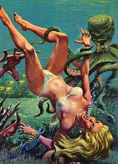 bold men pulp art pinup woman monster