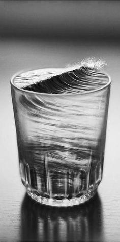 A take on tempest in a teacup - waves in a water glass (Silvia Grav)