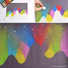 This simple northern lights chalk art project for kids is so much fun and makes such a gorgeous glowing sky! Such a great winter craft project for kids! For Kids Beautiful Northern Lights Chalk Art For Kids - One Little Project Art Lessons, Camping Art, Chalk Art, Easy Arts And Crafts, Simple Art, Chalk Pastel Art, Childrens Art