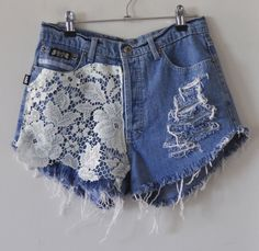 Grunged up lace jean shorts. I would definitely trim those hanging threads!