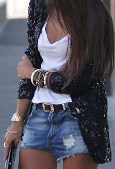 Love the sequin jacket with the simple white tee, denim cut offs, and lots of bracelets