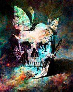 Butterflys & Skull Totenkopf Tattoos, Tatoo Art, Tattoo Life, Color Tattoo, Skull And Bones, Skeleton Bones, Human Skeleton, Skull Art, Skull Head