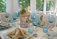A Beach Themed Table Setting. Great inspiration for a beach wedding
