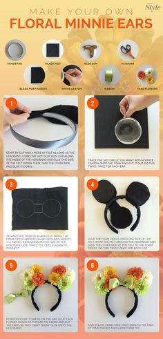 Floral Minnie Ears A step-by-step guide to making your own Minnie Mouse ears - I just think these are so darling and fun! :)A step-by-step guide to making your own Minnie Mouse ears - I just think these are so darling and fun! Disney Diy, Deco Disney, Diy Disney Ears, Disney Bows, Disney Cruise, Adult Disney Party, Mickey Mouse Headband, Diy Mickey Mouse Ears, Micky Ears