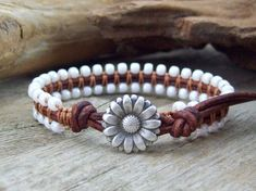 Country Chic Leather Daisy Bracelet Summer by JunoniaDesigns, $35.00