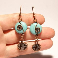 turquoise earring,turquoise jewelry,wire wrapped jewelry handmade,copper jewelry,turquoise earring in handmade Wire Wrapped Earrings, Copper Earrings, Turquoise Earrings, Copper Jewelry, Copper Wire, Dangle Earrings, Seashell Jewelry, Trendy Fashion Jewelry, Fashion Jewelry Necklaces